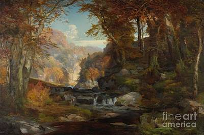 A Scene On The Tohickon Creek Print by Thomas Moran