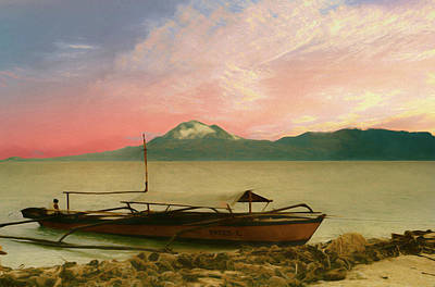 Photograph - A Scenic View Of A Filipino Fisherman Sitting In His Fishing Boa by Rusty R Smith