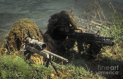 Camouflage Clothing Photograph - A Seal Sniper Swim Pair Set Up An by Michael Wood