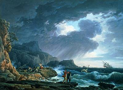 Wreck Painting - A Seastorm by Claude Joseph Vernet