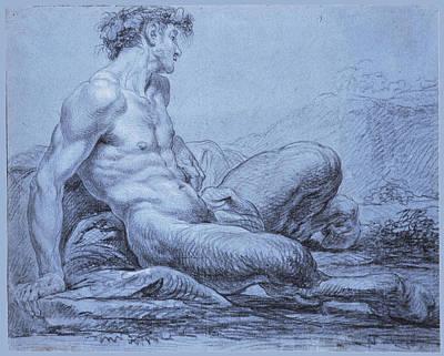 Jean Grey Drawing - A Seated Faun by Jean II Restout