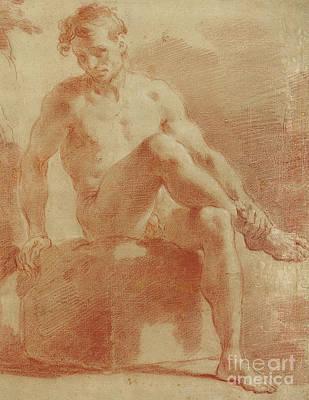 Pastel - A Seated Male Nude  Detail by Gaetano Gandolfi