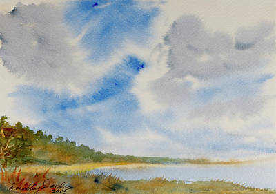 Painting - A Secluded Inlet Beneath Billowing Clouds by Dorothy Darden