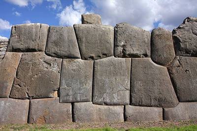 Photograph - A Section Of The Wall At Saksaywaman, Peru by Aidan Moran
