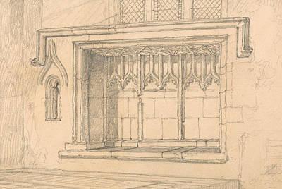 English Church Drawing - A Sedilia In Upwell Church, Norfolk by John Sell Cotman