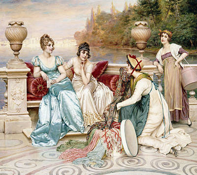 A Selection Of Silk And Satin Art Print by Joseph Frederic Charles Soulacroix