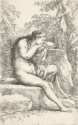 Relief - A Semi-nude Woman Seated Resting Her Head On A Rock by Salvator Rosa