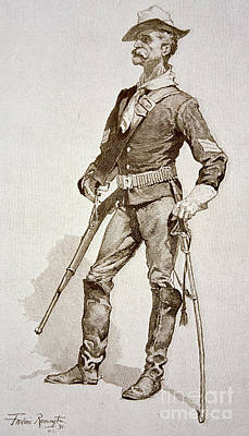 Engraving Drawing - A Sergeant Of The Us Cavalry by Frederic Remington