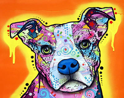 Pitbull Wall Art - Painting - A Serious Pit by Dean Russo