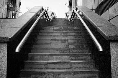 A Set Of Black And White Marble Stairs Print by Rikki Prince