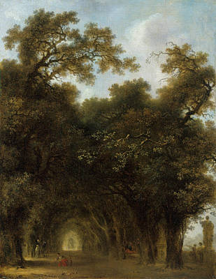 Streetscape Painting - A Shaded Avenue by Jean-Honore Fragonard