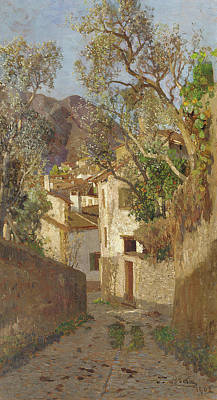 Blau Painting - A Shaded Village Road, 1902 by Tina Blau-Lang