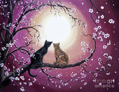 Cat Sunset Painting - A Shared Moment by Laura Iverson
