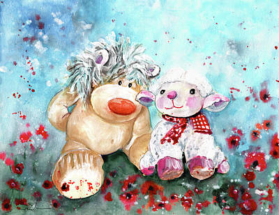 Painting - A Sheep And Her Beau On Anglesey by Miki De Goodaboom