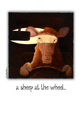 Mirror Painting - A Sheep At The Wheel... by Will Bullas