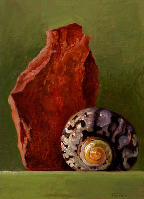 A Shell And Rock Conversation Art Print by Catherine Twomey