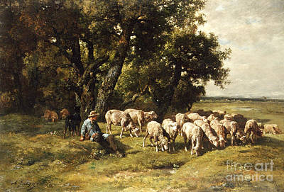 Seat Painting - A Shepherd And His Flock by Charles Emile Jacques