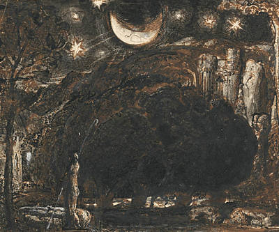 Moon And Stars Drawing - A Shepherd And His Flock Under The Moon And Stars by Samuel Palmer