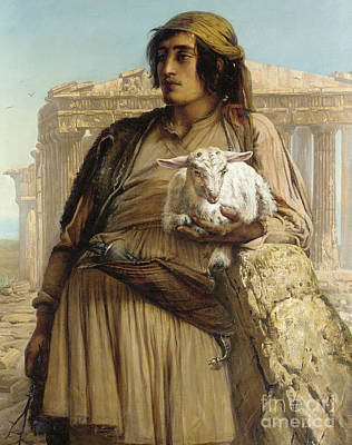 A Shepherd Boy Standing Before The Parthenon Art Print