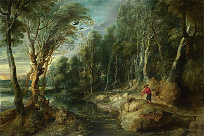 Shepherd Painting - A Shepherd With His Flock In A Woody Landscape by Peter Paul Rubens