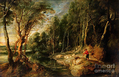 Animals Painting - A Shepherd With His Flock In A Woody Landscape by Rubens