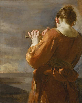 Painting - A Shepherdess Playing The Flute by Attributed to Giuseppe Maria Crespi