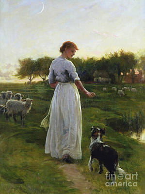 Moonlit Painting - A Shepherdess With Her Dog And Flock In A Moonlit Meadow by George Faulkner Wetherbee
