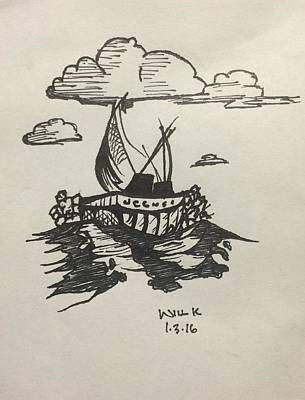 Clear Sky Drawing - A Ship At Sea by Will Kingsley