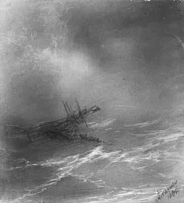 Drawing - A Ship In Peril 2 by Ivan Konstantinovich Aivazovsky