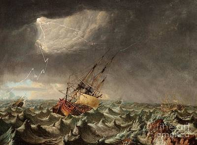 A Ship In Storm Art Print by MotionAge Designs