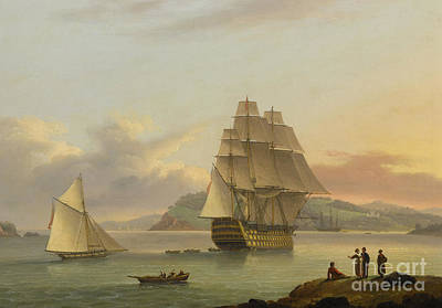 Pirate Ship Painting - A Ship Of The Line Off Plymouth, 1817 by Thomas Luny