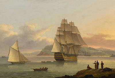 A Ship Of The Line Off Plymouth Art Print by Thomas Luny