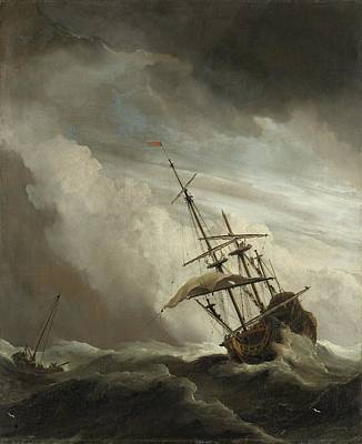 Painting - A Ship On The High Seas Caught By A Squall  Known As  The Gust   Willem Van De Velde II C  1680 by R Muirhead Art