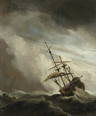Sailboat Ocean Painting - A Ship On The High Seas Caught By A Squall by Willem van de Velde the Younger