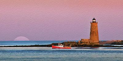 A Ship Passes The Super Moon And Whaleback Art Print