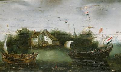 Painting - A Ship Sailing On An Inland Waterway Anonymous  C 1614   C 1630 by R Muirhead Art