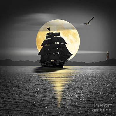 A Ship With Black Sails Art Print by Monika Juengling