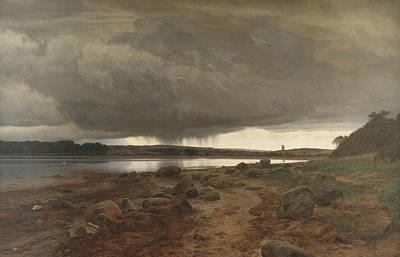 Painting - A Showery Landscape by Janus la Cour