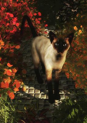 Painting - A Siamese Cat Is Looking  by Jan Keteleer