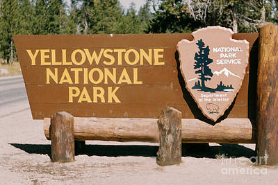 Target Threshold Nature - A sign at the south entrance to Yellowstone National Park, Wyoming circa 1960 by California Views Archives Mr Pat Hathaway Archives