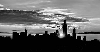 America Photograph - A Silhouette Of The Chicago Skyline Bw by Med Studio