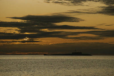 A Silhouetted Russian Submarine Art Print by James P. Blair