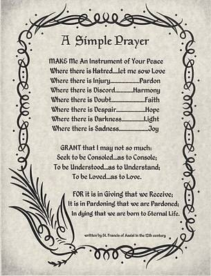 A Simple Prayer For Peace By St. Francis Of Assisi On Parchment Art Print by Desiderata Gallery