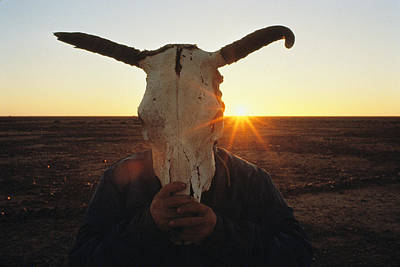 Natural Forces Photograph - A Simpson Desert Local Hides His Face by Medford Taylor