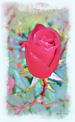 Art Print featuring the photograph A Single Rose In October by Joan  Minchak