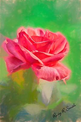 Digital Art - A Single Soft Red Rose Blossom by Rusty R Smith