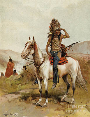 Prairie Sky Painting - A Sioux Indian Chief by Frank Feller