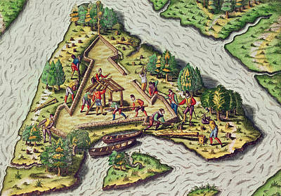 Fort Drawing - A Site For The Fort Is Chosen by Theodore de Bry