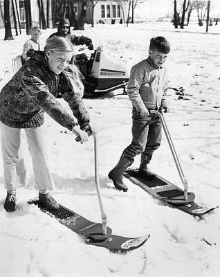 Snowboarding Photograph - A Ski Board With Steering by Underwood Archives