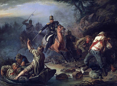 Army Painting - A Skirmish With Smugglers by Vasily Grigorievich Khudyakov